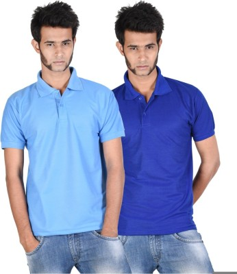 Whistle Solid Men's Polo Neck Light Blue, Dark Blue T-Shirt