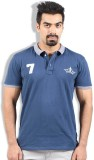 Goswhit Solid Men's Polo Neck Blue T-Shi...