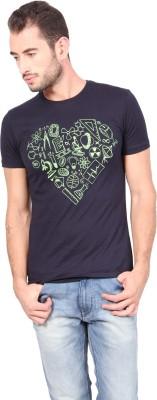 Geekly Printed Men,s Round Neck Dark Blue T-Shirt