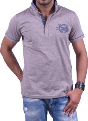 Cotton & Blends Striped Men's Henley Brown T-Shirt