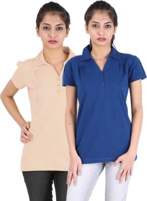 Avarnas Solid Women's Polo Neck Beige, Dark Blue T-Shirt