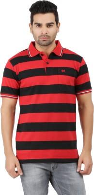 6P6 Striped Men's Polo Neck Black, Red T-Shirt