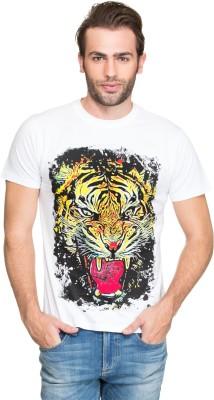 Zovi Printed Men's Round Neck White T-Shirt