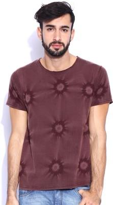 Le Bison Solid Men's Round Neck Maroon T-Shirt