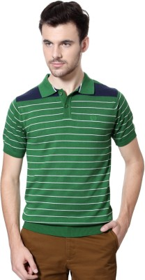 Van Heusen Striped Men's Polo Neck Green T-Shirt