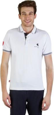 Goodluck Solid Men's Polo Neck White, Black T-Shirt