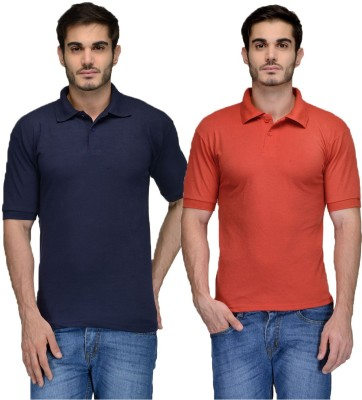 Feed Up Solid Men's Polo Neck Dark Blue, Red T-Shirt