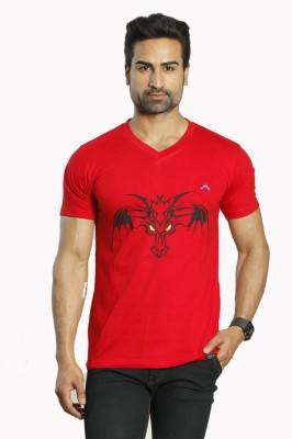 ALBITEN Printed Men's V-neck Red T-Shirt