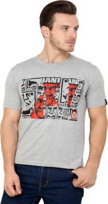 Espresso Printed Men's Round Neck Grey T-Shirt