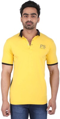 PureSoul Printed, Solid Men's Flap Collar Neck Yellow T-Shirt