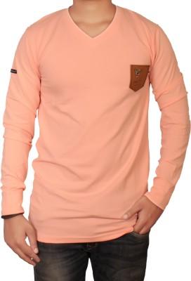 The Desi Attire Solid Men,s V-neck Pink T-Shirt