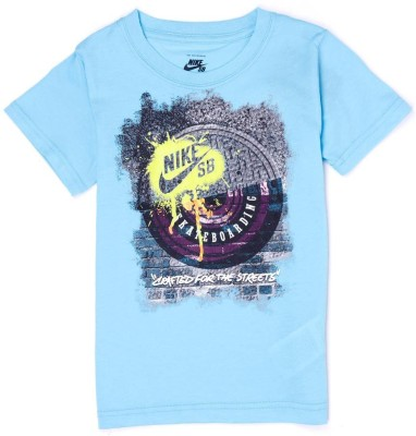 Nike SB Graphic Print Boy,s Round Neck Light Blue T-Shirt