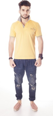 Fast Track Solid Men's Fashion Neck Yellow T-Shirt