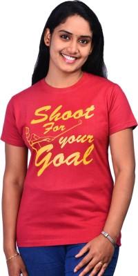 Zorba Mart Printed Women's Round Neck Maroon T-Shirt