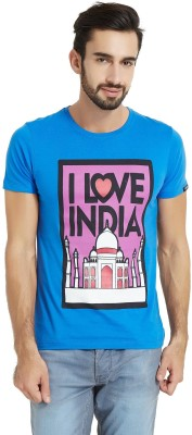The Indian Solid Men's Round Neck Light Blue T-Shirt