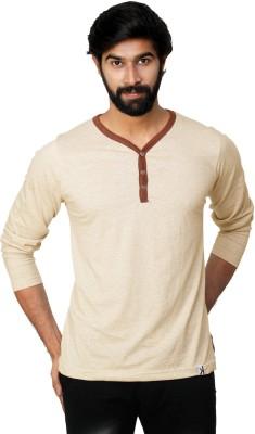 0EM Self Design Men's Henley Beige T-Shirt