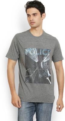 Police Printed Men's Round Neck Grey T-Shirt