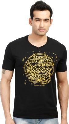 Design Classics Printed Men's V-neck Black T-Shirt