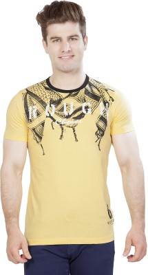 Maniac Graphic Print Men's Round Neck Gold T-Shirt