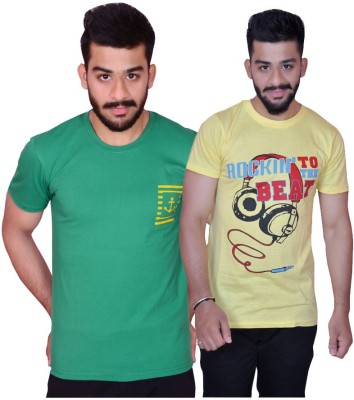 Inez Printed Men's Round Neck Green, Yellow T-Shirt