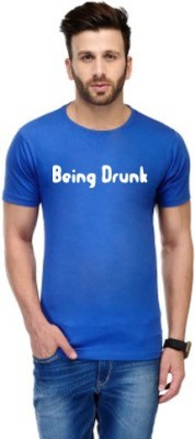 Andshand Graphic Print Men,s Round Neck Blue T-Shirt