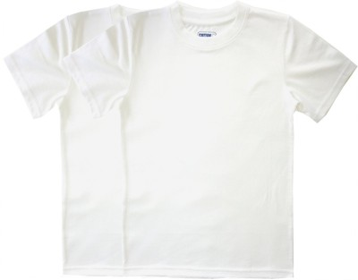 Cotton Solid Girl's Round Neck White T-Shirt