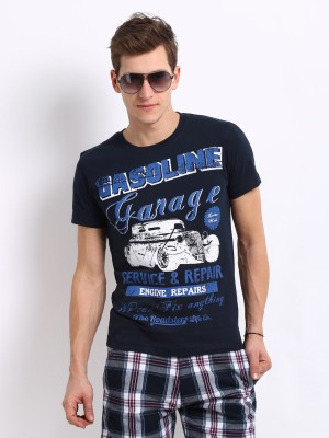 Roadster Printed Men's Round Neck Blue T-Shirt