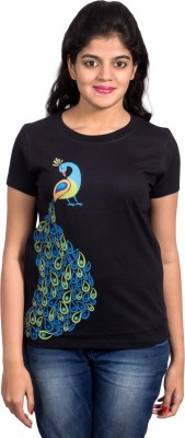 Rang Chakri Printed Women's Round Neck Black T-Shirt