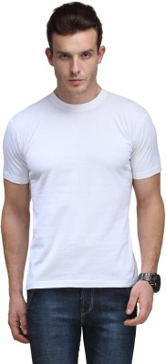 Scott International Solid Men's Round Neck White T-Shirt
