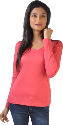 No Code Solid Women's V-neck Pink T-Shirt