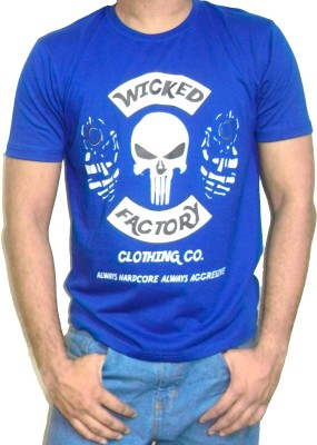 Wicked Factory Graphic Print Men's Round Neck Blue T-Shirt