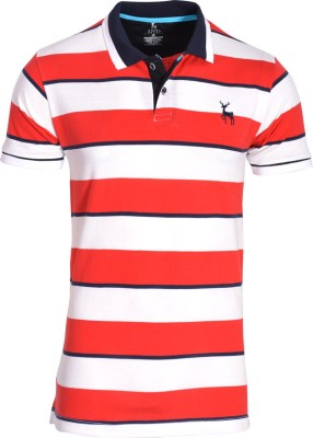 IND Classic Striped Men's Polo Neck Red, White T-Shirt