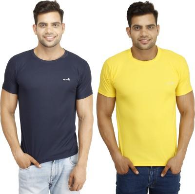 Eprilla Solid Men,s Round Neck Dark Blue, Yellow T-Shirt