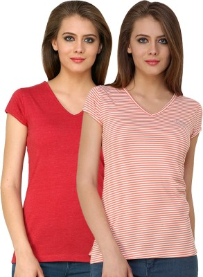 Ebry Solid Women,s V-neck T-Shirt