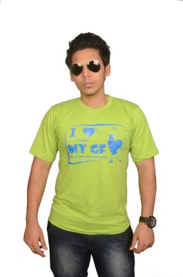 College Jugaad Printed Men's Round Neck Light Green T-Shirt