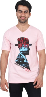 T Clobbers Graphic Print Men's Round Neck, V-neck Pink T-Shirt