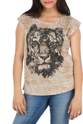 Download Apparel Printed Women,s Round Neck Beige, Brown T-Shirt