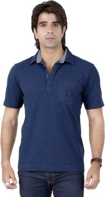 Valeta Solid Men's Polo Neck Blue T-Shirt