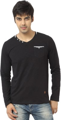 La Seven Solid Men's V-neck Black T-Shirt