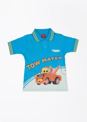 CHERISHKNITS Printed Boy's Polo Blue T-Shirts