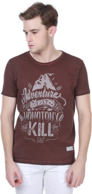 Henry and Smith Printed Men's Round Neck Brown T-Shirt