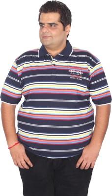 Xmex Striped Men's Polo Neck Multicolor T-Shirt