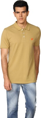 Provogue Solid Men's Polo Brown T-Shirt