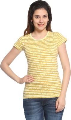 Maatra Striped Women,s Round Neck Yellow T-Shirt