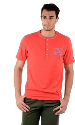 Mudo Solid Men's Henley Red T-Shirt