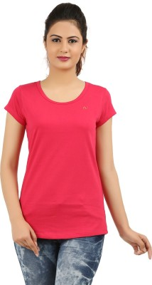 New Darling Solid Women's Round Neck Pink T-Shirt