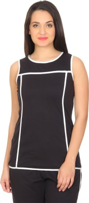 Rute Solid Women's Round Neck Black, White T-Shirt