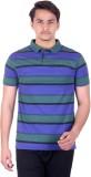 DEZYN Striped Men's Polo Neck Blue T-Shi...