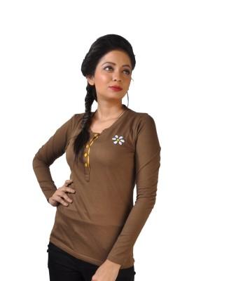 No Code Solid Women's V-neck Brown T-Shirt