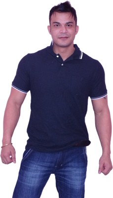 Angelo Litrico Solid Men's Polo Neck Blue T-Shirt
